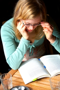 Young Woman Reading and Studying.