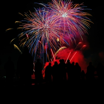 colorful fireworks show silhouettes